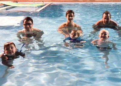 Penguins swimming school